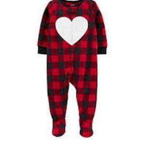 Carter's Buffalo Check Heart 1 Piece Red Black NWT